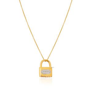 آویز طلا طرح قفل تیفانی کد CP359