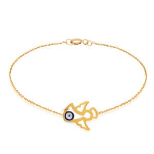 دستبند طلای کودک طرح فرشته با چشم و نظر کد KB384