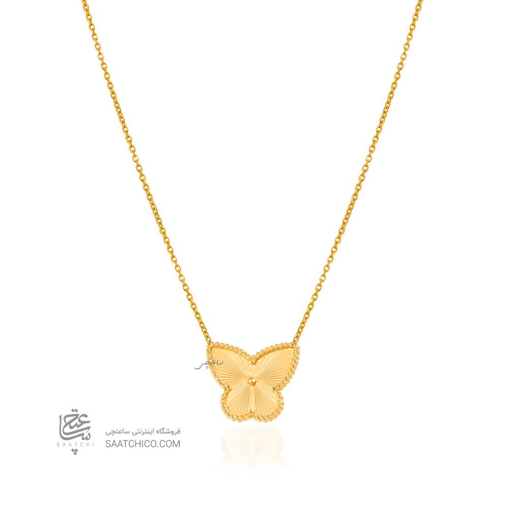 گردنبند طلا طرح پروانه کد CN482