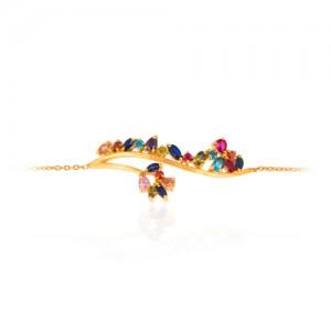 دستبند طلا زنانه طرح شاخه گل با نگین کد cb303
