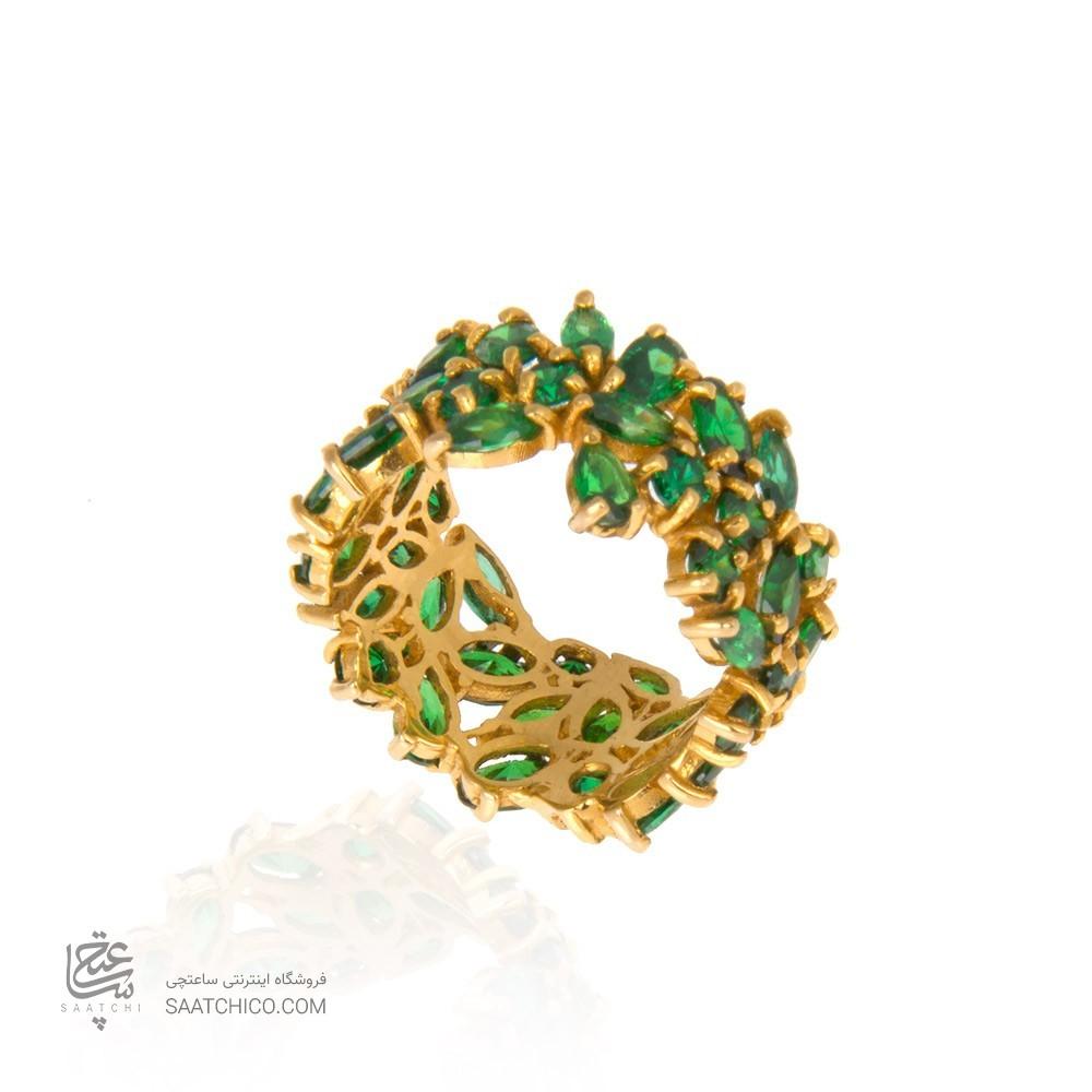 انگشتر طلا زنانه با نگین cz مولتی کالر کد cr315