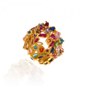 انگشتر طلا زنانه طرح مولتی کالر  کد cr315