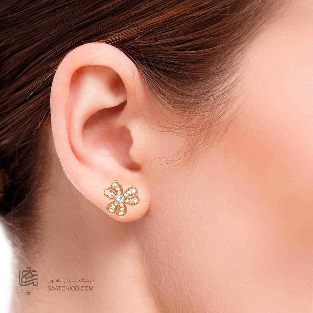 گوشواره طلا زنانه طرح گل سه پر با نگین کد CE309