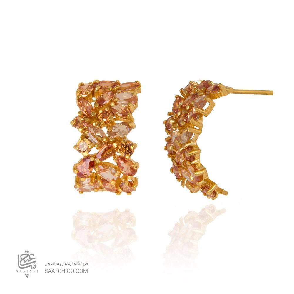 گوشواره طلا زنانه مولتی کالر با نگین کد CE312