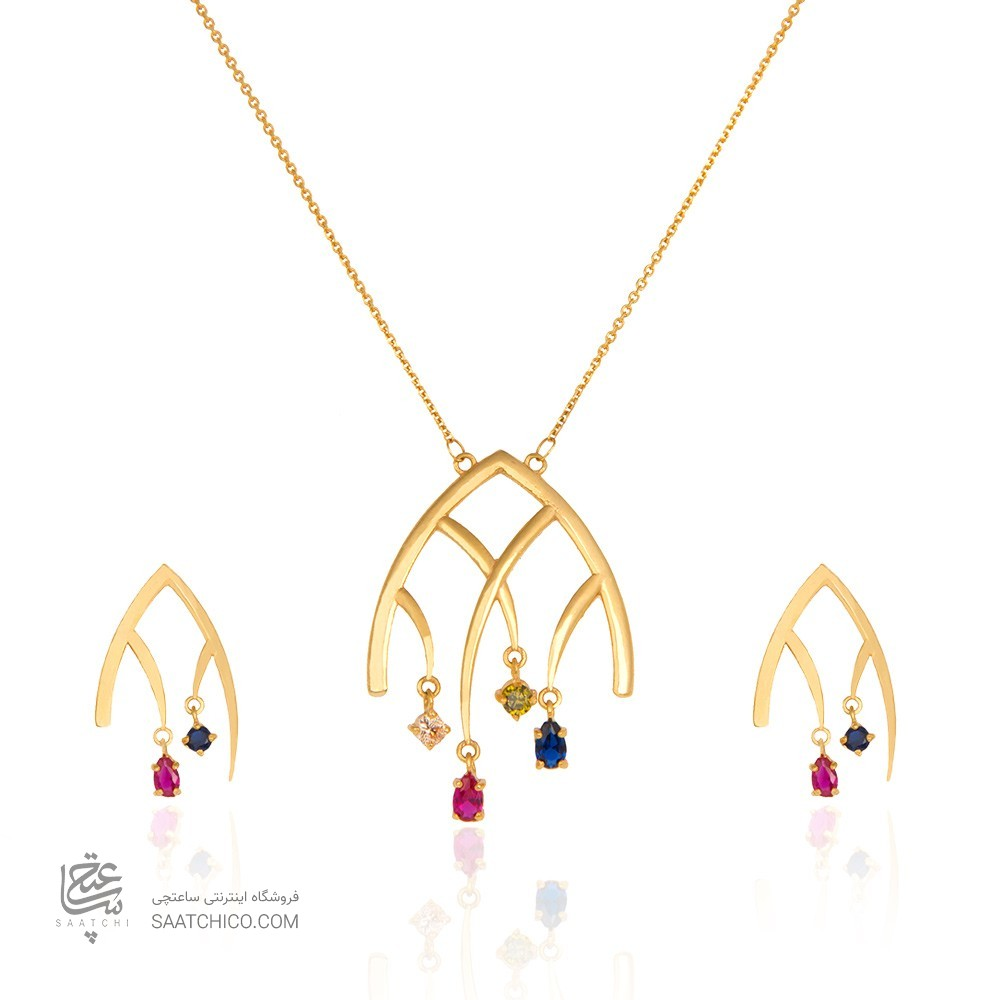 نیم ست طلا زنانه طرح هندسی با نگین کد CS305