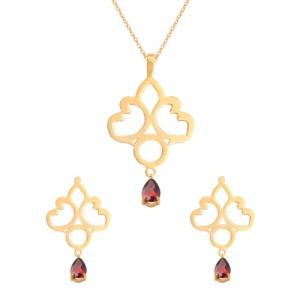 نیم ست طلا زنانه طرح اسلیمی با سنگ کد XS101