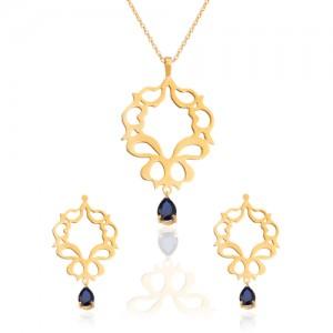 نیم ست طلا زنانه طرح اسلیمی با سنگ کد XS103