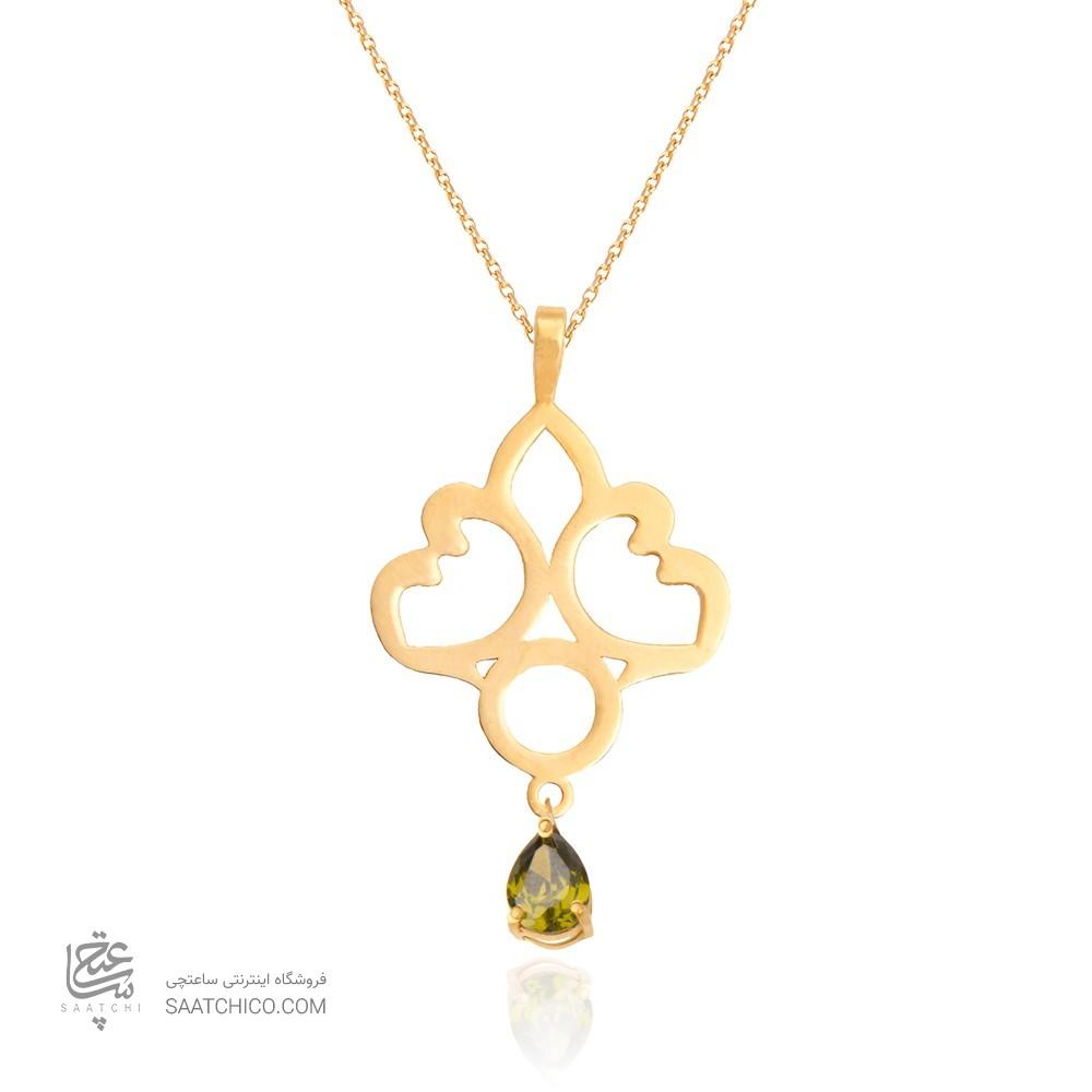 آویز طلا زنانه طرح اسلیمی با سنگ cz کد XP101