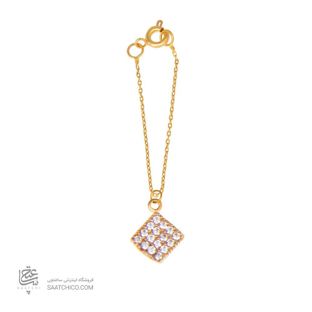 آویز ساعت طلا زنانه طرح هندسی با نگین کد wp315