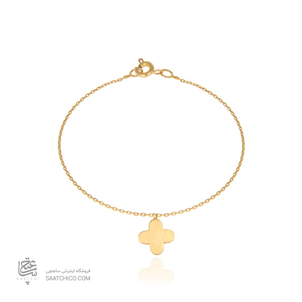 دستبند طلا کودک طرح گل چهار ونکلیف کد KB310